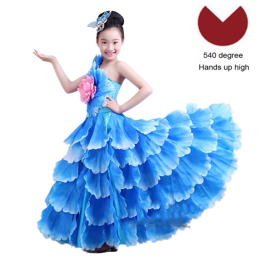 US $15.32 27% OFF|Floral Decoration Plus Size Elegant Wedding Tutu Dress  Gypsy Spanish Flamenco Shoulder Off Dress Dance Costumes with Headwear-in  ...