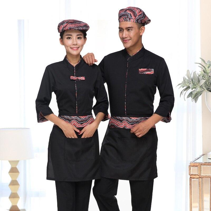 SchürzeSupermarkt Tragen 10 Shop Frauen Lange sleeve Restaurant Kleidung Kassierer shirtamp; Die Arbeit Uniform Mit Weibliche Set Schürze Nwnk80PXOZ