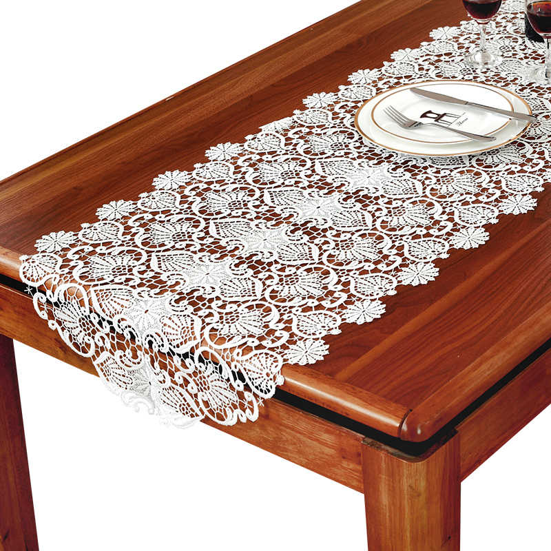 Home White Embroidered Table Runner Coffee Cloth Tv Cabinet Table