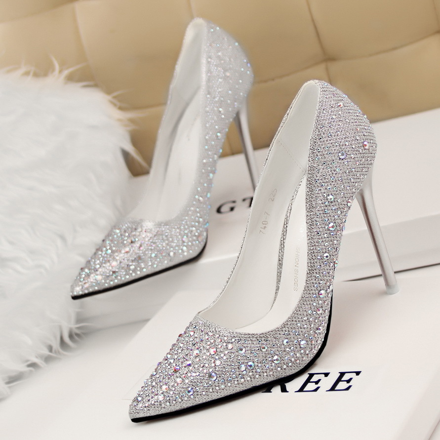 3da9163e77b New Fashion Sexy Women Silver Rhinestone Wedding Shoes Platform Pumps Red  Bottom High Heels Crystal Shoes Gold Black Pink 2460-in Women s Pumps from  Shoes ...