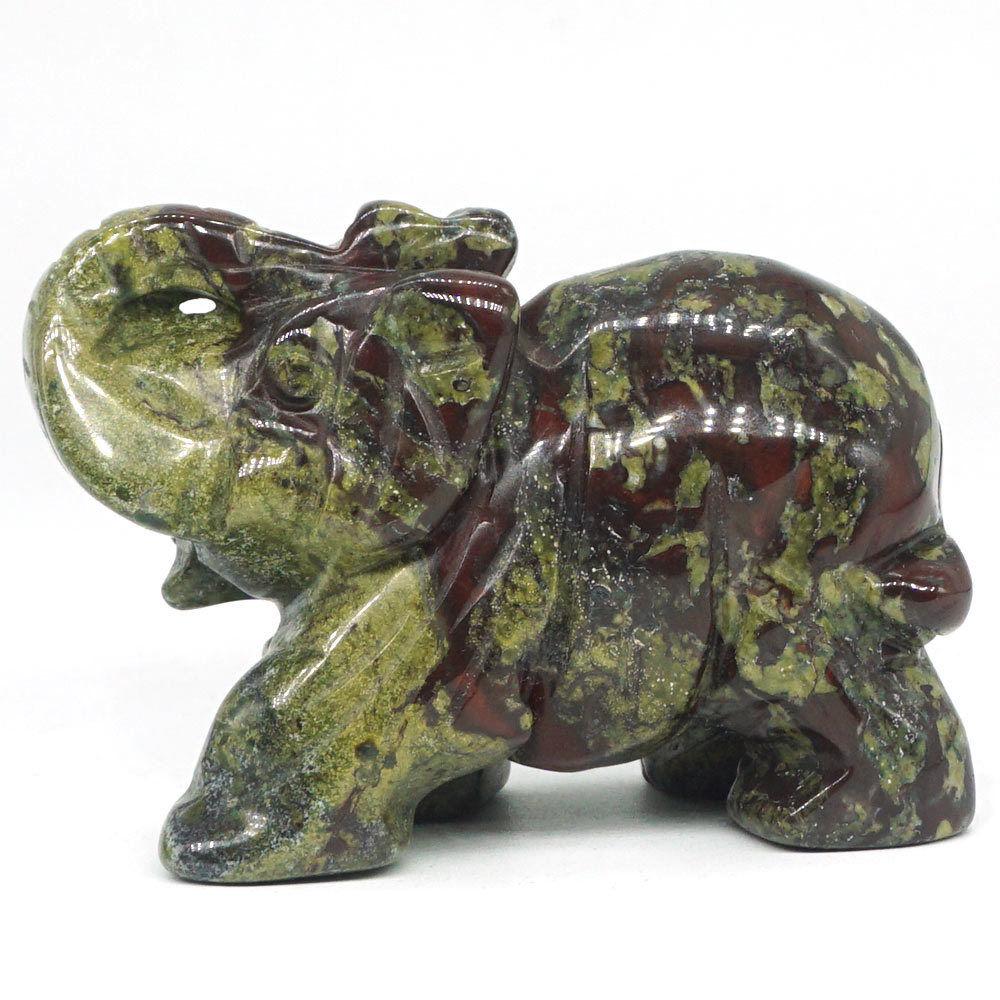 "2/""Natural Dragon Bloodstone Elephant Statue Crystal Reiki Healing Figurine Decor"