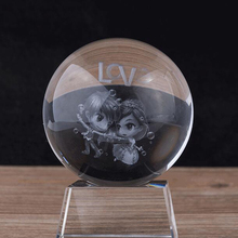 80MM K9 Crystal Ball Crafts 3D Laser Engraved Lover & Love Home Decoration Accessories Bola de cristal Drop Shipping