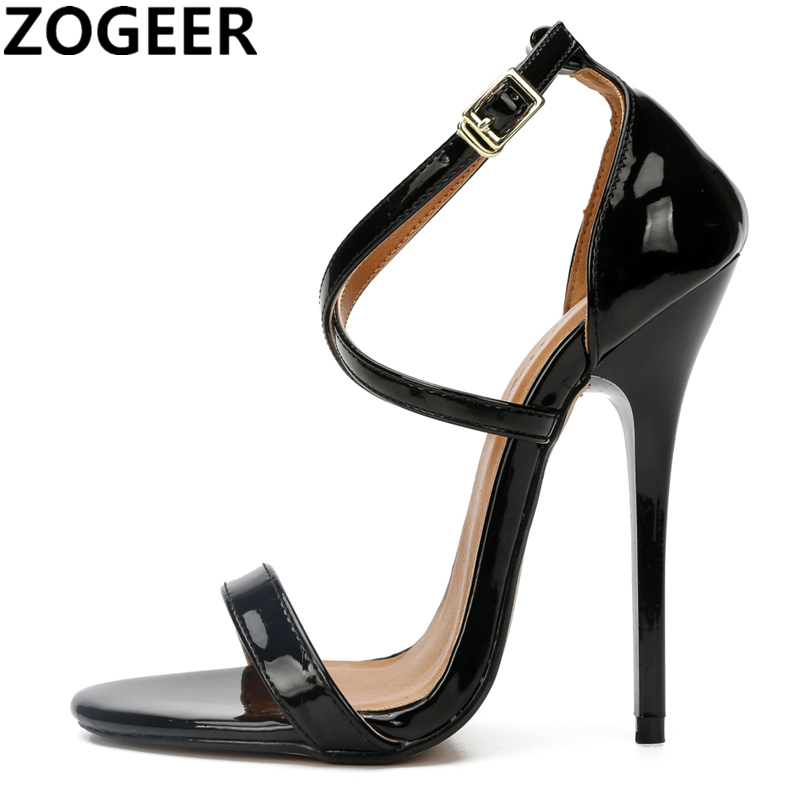 Plus Size 48 Fetish High Heels Sandals Women Fashion Cross Strap Wedding Shoes Sexy Black Red