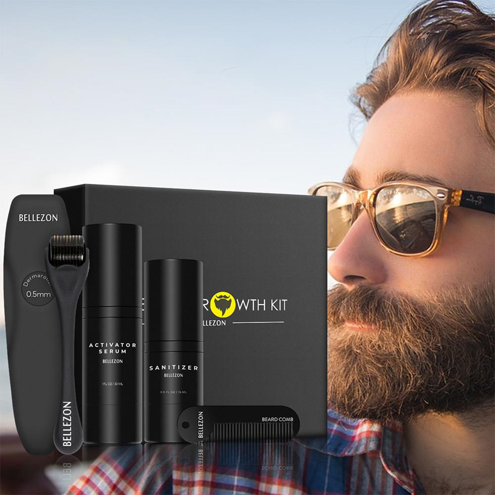 4 Pcs/set Barbe Beard Growth Kit Hair Growth Enhancer Set Beard Growth Essentital Oil Facial Beard Care Set Best Gift for Men 1