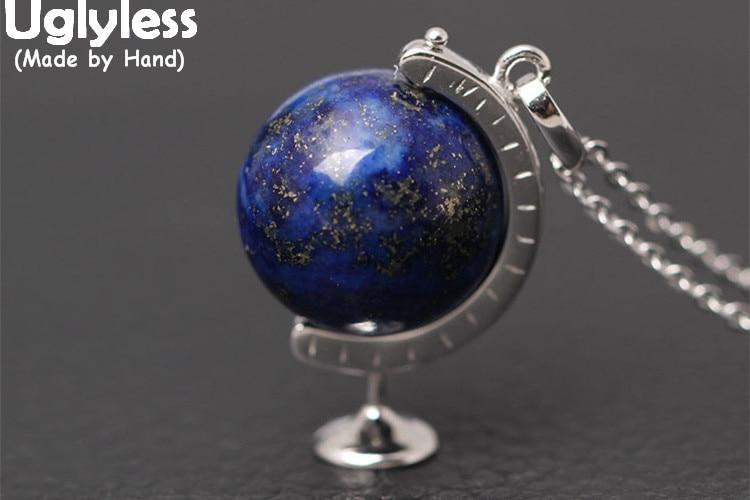 100% QualitäT Uglyless Echt S925 Sterling Silber Lapis Globus Anhänger Für Frauen Geographie Halskette Mit Kette Schmuck Rotierenden Opal Ball Bijoux