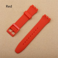 цена на Red 17mm 19mm Silicone Rubber Watch Band Straps Men Women Watches Swatch Black White Navy Rubber Strap plastic buckle