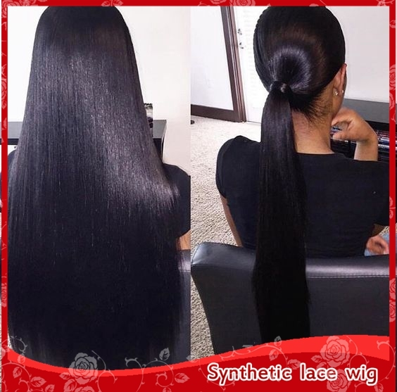 Full lace wig with straps free combs high ponytails anywhere part & glueless lace front wig silky straight black/brown/blonde