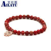 Turkish Religious Fatima Hand For Women Bracelet 6mm Red Sea Sediment Imperial Stone Beads Micro Inlay