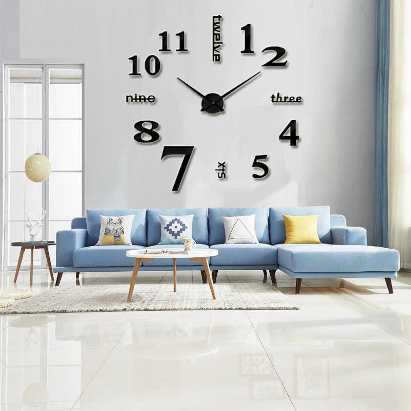 2020 mode 3D horloge murale moderne bricolage Design autorégulant horloge murale en métal acrylique autocollant miroir livraison gratuite