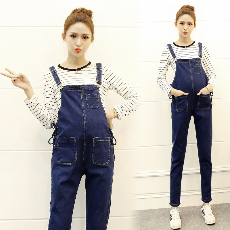 ФОТО Cotton Maternity Denim Jumpsuite Denim Overalls Maternity Jeans for Pregnant Women Pregnancy Pants Autumn Spring Winter B355