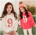 Ребенка Чистой Корейской Зимой Девушки Меховой Вышивка Толстая Пуловеры Дети Футболки Одежда Красный Белый