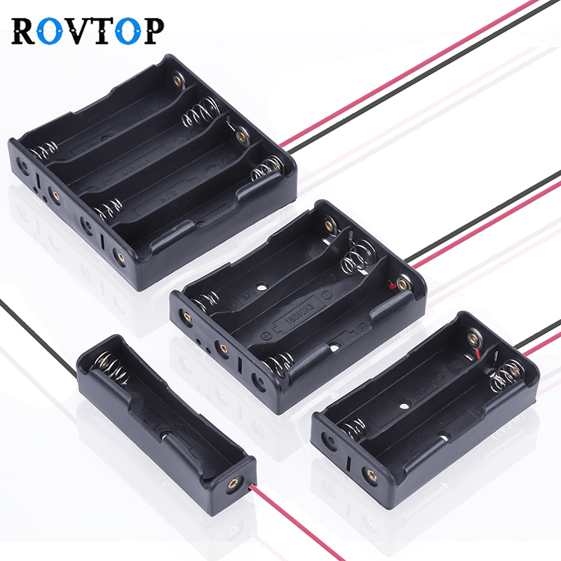 Rovtop 4/3/2/1x 18650 Battery Storage Box Case DIY 1 2 3 4 Slot Way Batteries Clip Holder Container With Wire Lead Pin Z2