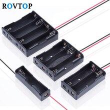Rovtop caja de almacenamiento de la batería 18650 DIY 4/3/2/1x, 1 2 3 4 ranuras, contenedor de soporte con Clip para baterías, cable alfiler de plomo Z2