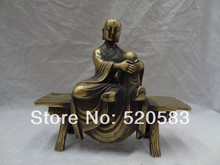 "8 ""de Bronce Budismo Chino Proteger 3 Ojos Monje Arhat Sit Heces Estatua de Buda"