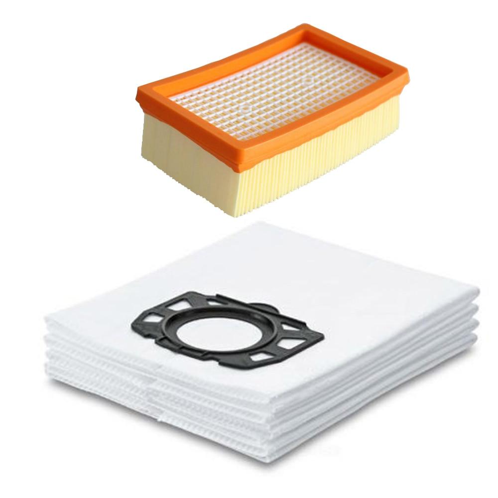 цены на 7Pcs/lot 6pcs Vacuum Cleaner Dust Bags and 1pc Filter for Karcher MV4 MV5 MV6 WD4 WD5 WD6 for Karcher WD4000 to WD5999 в интернет-магазинах
