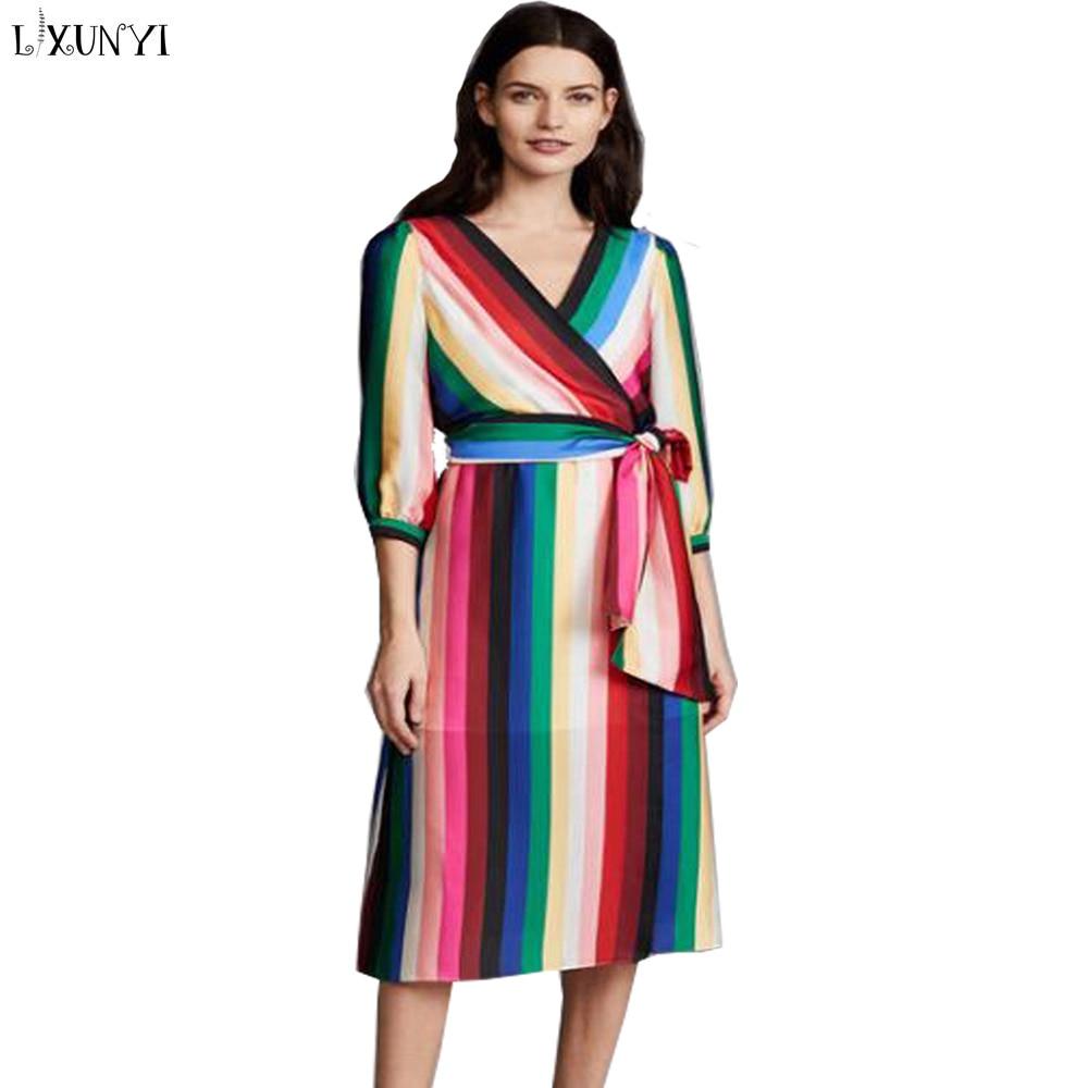 LXUNYI Woman Dress Spring Summer 2018 V-Neck Slim Printed Long Dresses Three Quarter Rainbow Striped Wrap Dress Summer Big Size