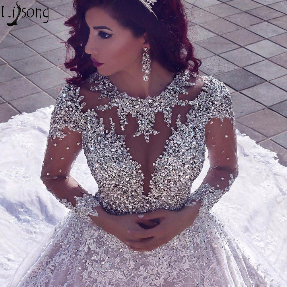 2019 Luxury Beading Long Sleeve Wedding Dresses With Long Train Sequined Lace Bride Wedding Gowns Muslim Turkey Robe De Mariage