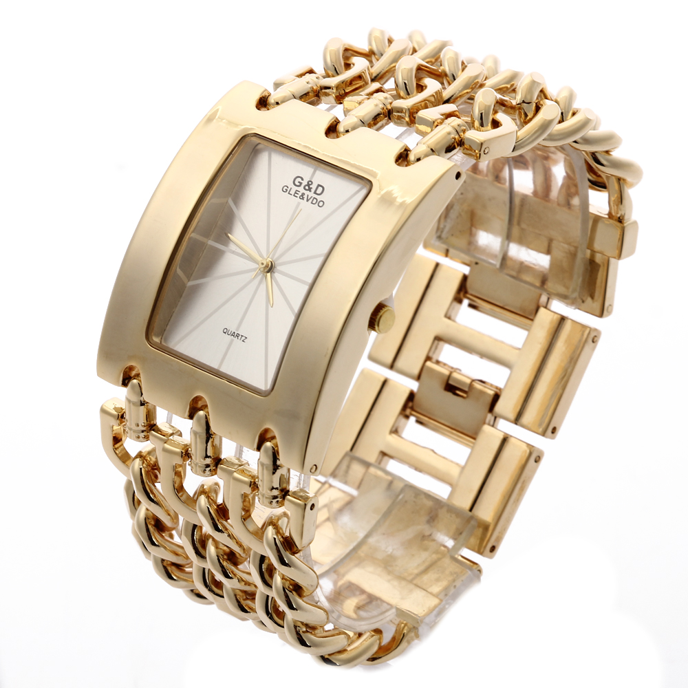 G&D Luxury Golden Women's Quartz Wristwatch Women's Bracelet Watch Relogio Feminino Women Dress Clock Reloj Mujer Jelly Gifts l 10 women s stylish petals style bracelet quartz analog wristwatch golden white 1 x lr626
