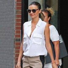 Multicolor Miranda Kerr EQ 100% de seda da senhora cor sólida bolso duplo camisa sem mangas blusa mulheres verão equipamentos