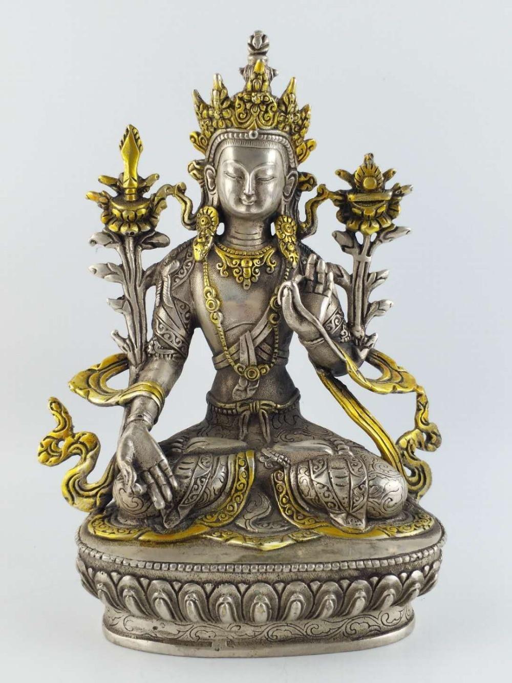 8.27 polegada/Elaborado Chinês Budismo Tibetano prata Tibetano Buda tara branca Estátua