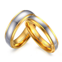 Gold Plated Tungsten Carbide Wedding Band Ring Mens Womens Jewelry Couple Weddigng Ring Set Comfort Fit