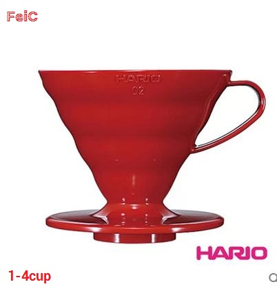 FeiC 1pc 3 Colors Hario  Coffee Dripper V60 Heat-resistant Resin VD-02 1-4cups For Barista