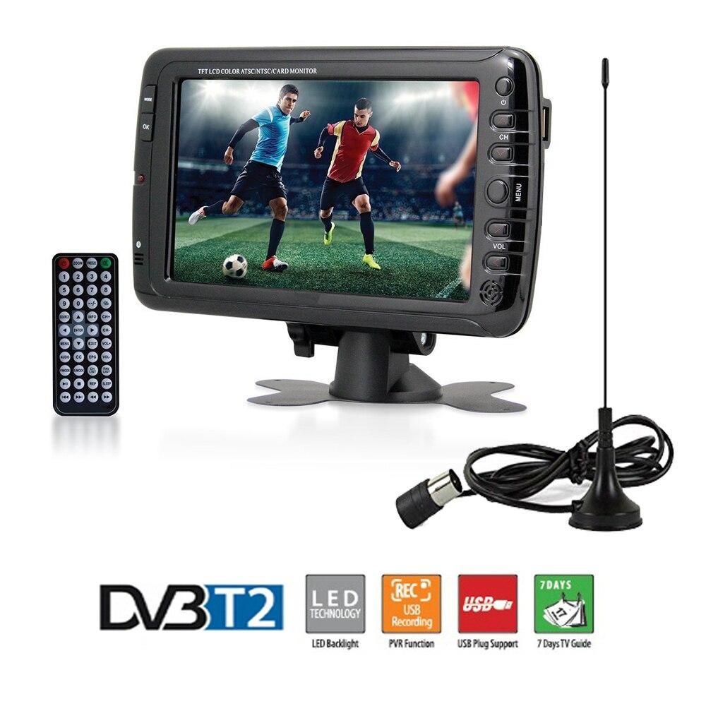 7-дюймовый Портативный автомобиля ТВ телевидения DVB-T2 DVB-T Цифровой автомобиль ТВ с Dolby приемник/w AV USB Порты и разъёмы MP3 /MP4 запись ТВ программы