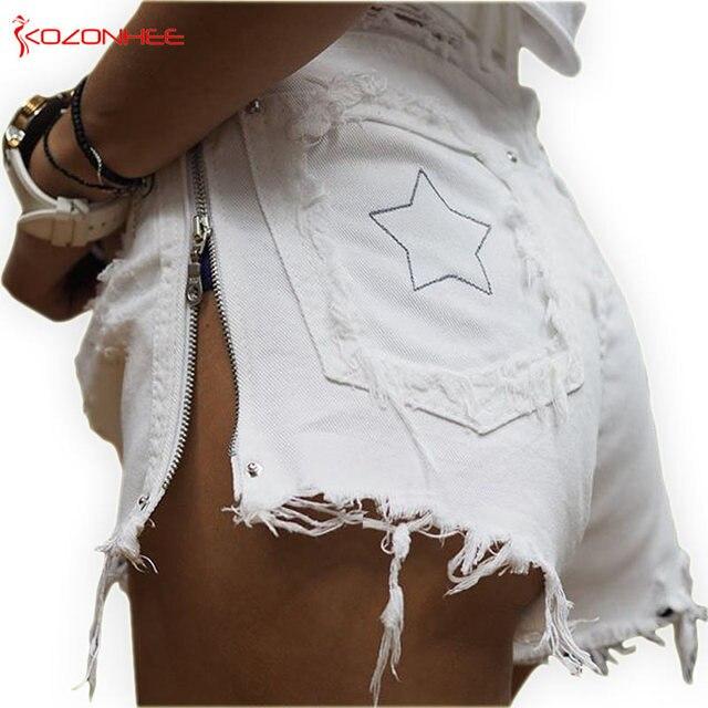 Kobiety z boku na zamek błyskawiczny spodenki jeansowe wysokiej talii paski spodenki jeansowe dziura kobiet letnie dżinsy krótkie #06