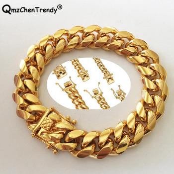 Promotion Stainless Steel Miami Curb Cuban Chain Bracelets Dragon Casting  Clasp Bangle Hip hop Jewelry 8MM~18MM Men Bracelet