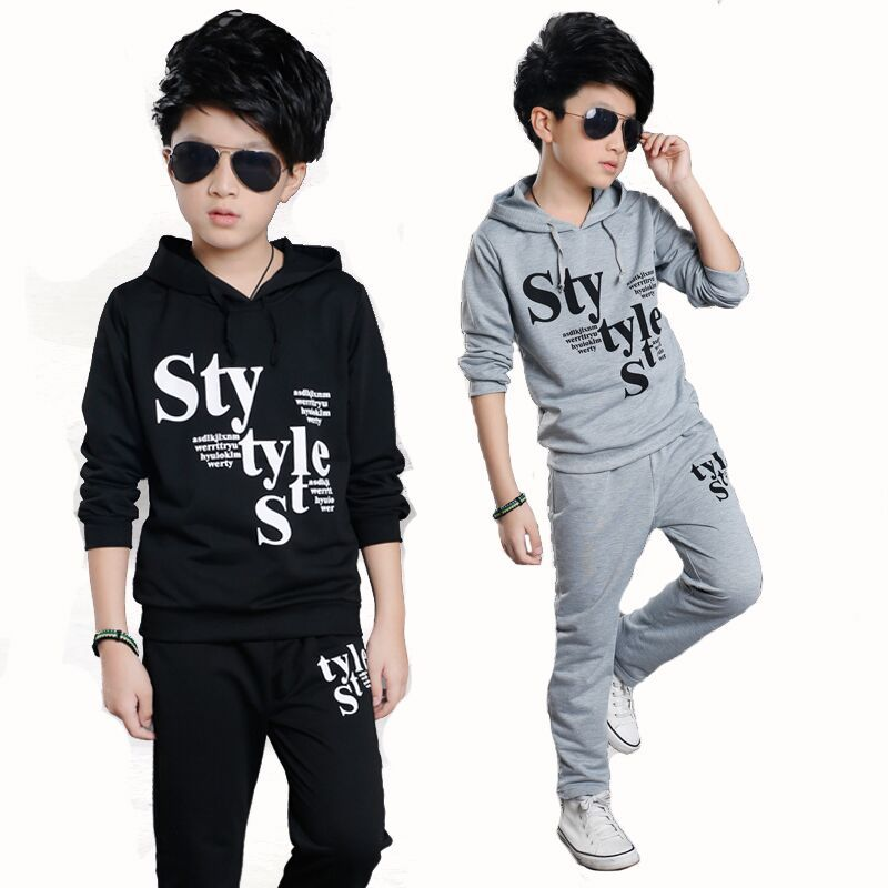 Fashion Boys Sport Suits Clothing Set Autumn Cotton Letter Print Hooded T-Shirt +Pants Tracksuit For  Boys New Year Costume letter numble print cotton long sleeves hooded casual style cotton three piece suits for women