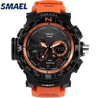 SMAEL Brand Men Sport Watches Dual Display Watch Man LED Digital Analog Electronic Quartz Wristwatch 50M