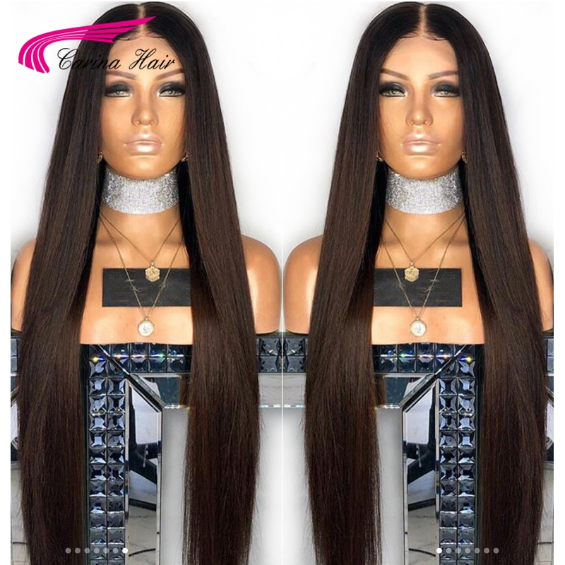 Carina Lace Front Human Hair Wigs With Baby Hair Peruvian Remy Straight Hair Lace Wigs Pre-Plucked Hairline Bleached Knots