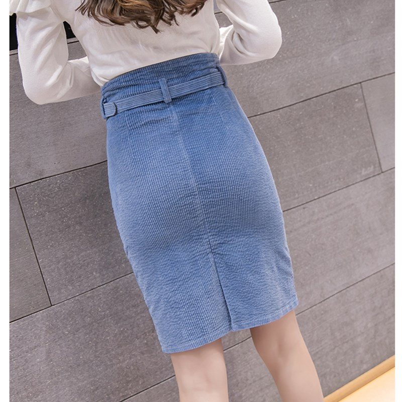 61d1142d7ef538 woman solid corduroy skirt office lady style knee-length sashes skirt  Elegant lady empire High-waisted skirt autumn winter new | Everyday  Essentials