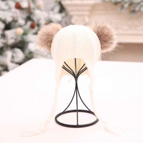 البوب أحدث الوليد طفل جدي فتى فتاة الدافئة قبعة متماسكة قبعة الفراء بوم قبعة الكروشيه هدب عارضة قبعات
