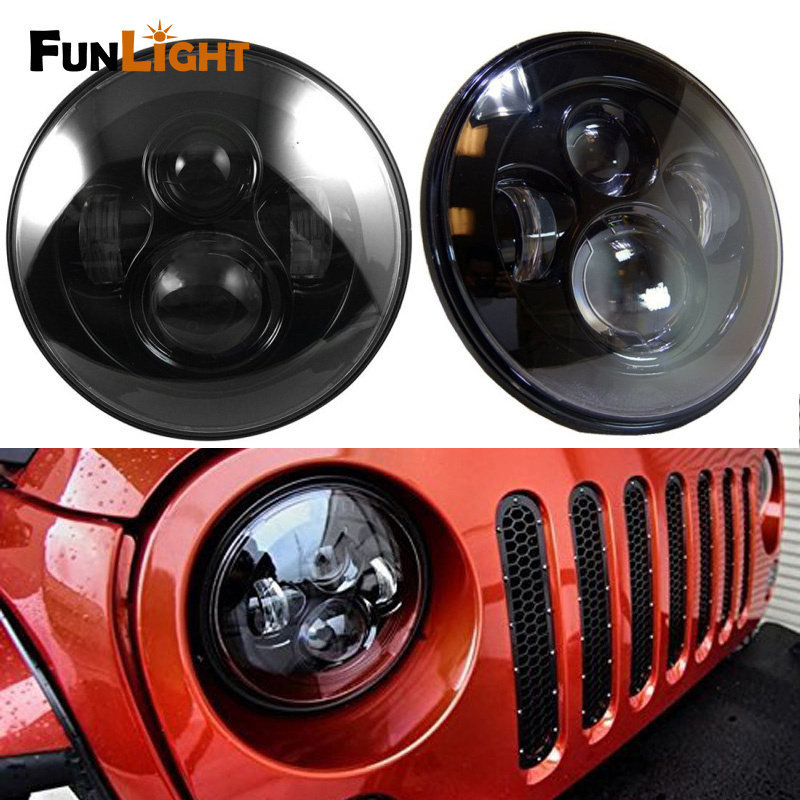 Funlight 1 Pair 7 inch Led headlight For Jeep JK 7 Round Headlight Led For Jeep Wrangler 97-15 Hummer Toyota Defender windshield pillar mount grab handles for jeep wrangler jk and jku unlimited solid mount grab textured steel bar front fits jeep