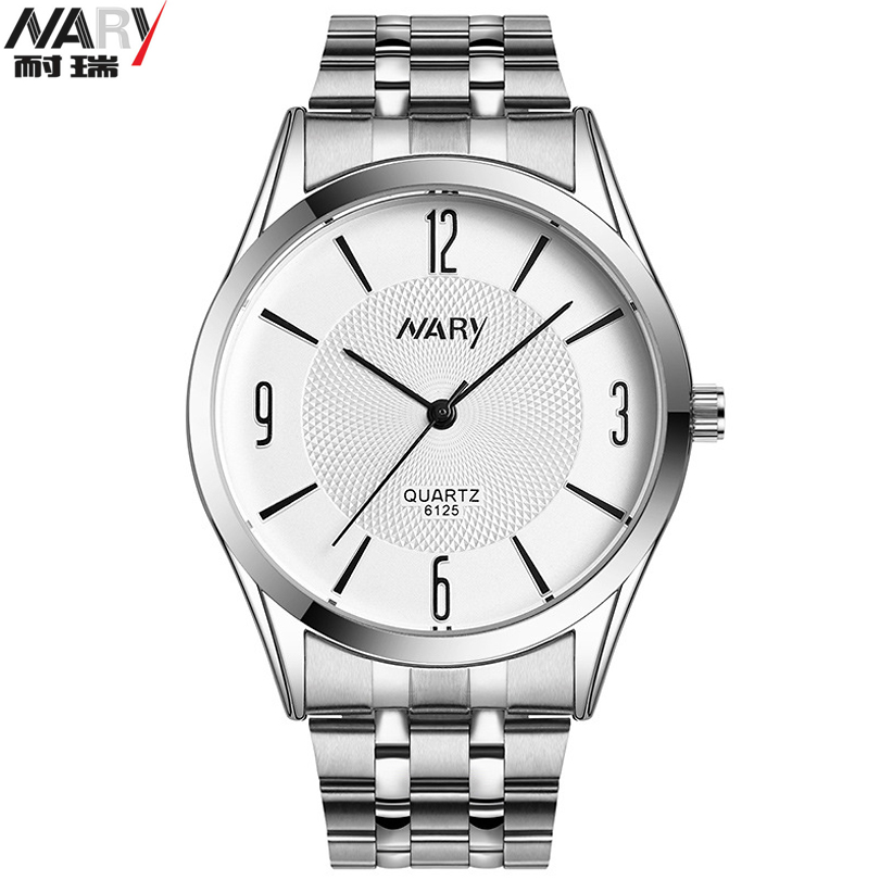 New Nary Brand Watches Men Fashion Stainless Steel Watch Men Movement Quartz-Watch Waterproof Erkek Kol Saati relogio masculino orkina fashion casual men clock black stainless steel case male watches japan quartz movement water resistant erkek kol saati