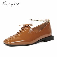 Krazing Pot High Street Fashion Brand Shoes Genuine Leather Low Heels Square Toe Ankle Chains Women