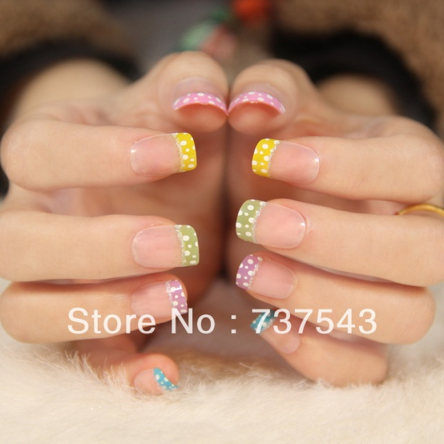 Cute French Short Design Square Toe Nail Series Colorful Art Young