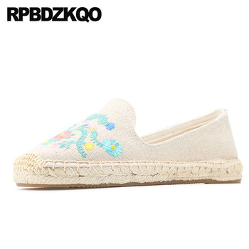 2019 Designer White Casual Round Toe Chinese Embroidered Shoes Slip On Breathable Espadrilles Fisherman Embroidery Flats Ladies