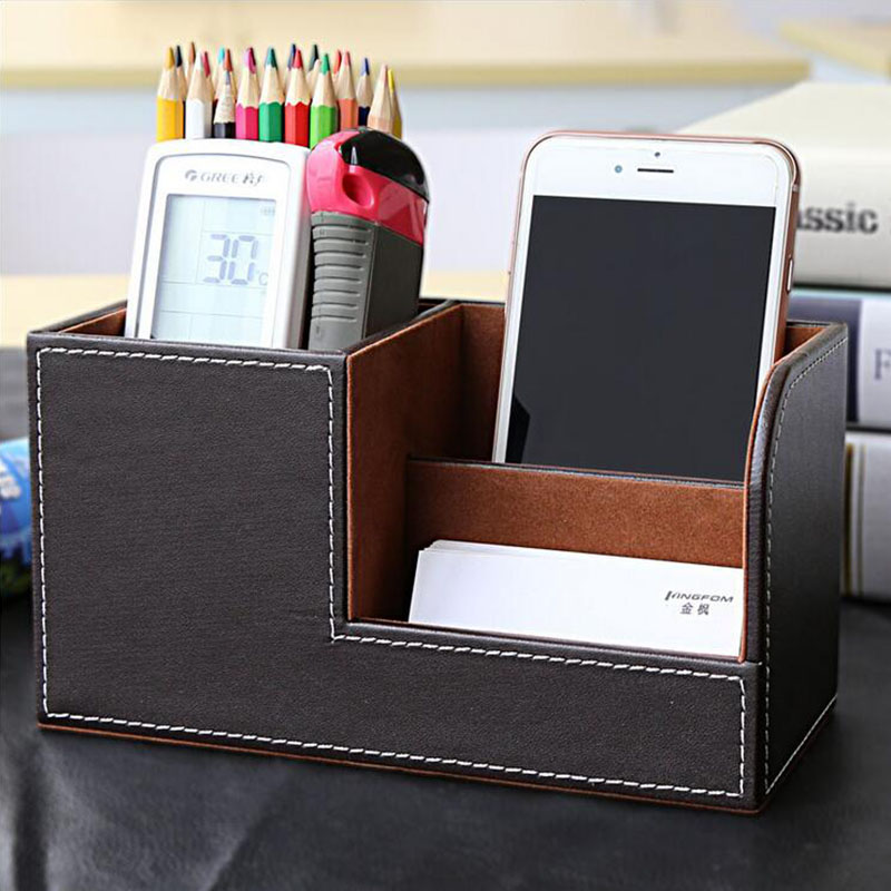 PU Leather Pen Container Creative Home Office Supplies Multifunctional  Desktop Stationery Case Advertising Card Holder Box In Desk Set From Office  U0026 School ...