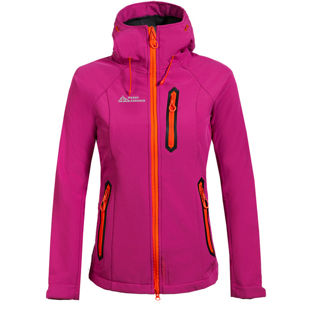 MOUNT CONQUER Women Hiking Jacket Softshell Fleece Warm Coat Windproof  Waterproof Breathable Outdoor Sport Camping Riding 11d32b079ae9