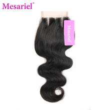 Mesariel Brazilian Body Non-Remy Hair Natural Black Color 100% Human Hair Free Shipping Brazilian Three Part Lace Closure