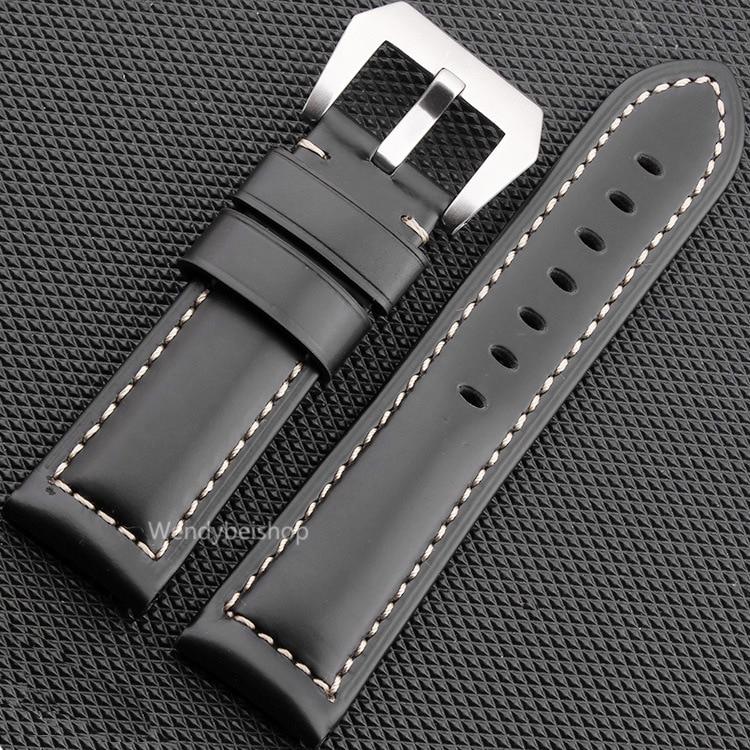 CARLYWET 22 24 26mm Schwarz Braun Echtes Leder Handgemacht Dickes - Uhrenzubehör - Foto 1
