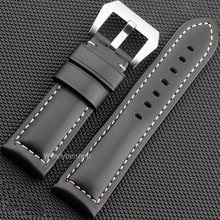 22 24 26mm Newest Men Women Black Brown Real Leather Handmade Thick Wrist Watch Band Strap Belt Brushed Pre-V Screw Buckle