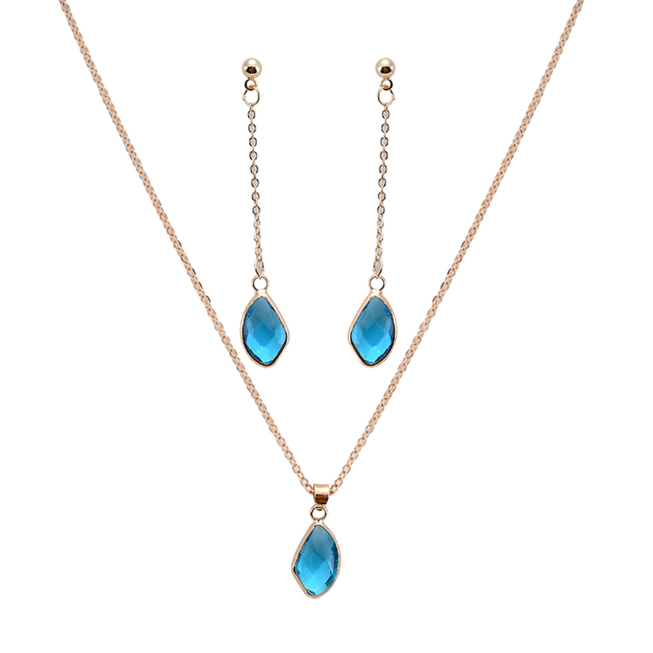 Jewelry-Sets Necklace Pendant Prom-Party Glass Blue-Color S0009 Water-Drop