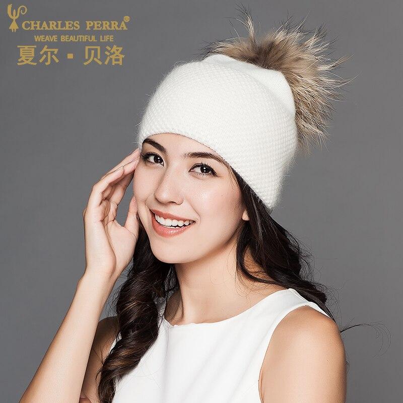Charles Perra moteriškos skrybėlės iš žiemos vilnos megztos - Drabužių priedai