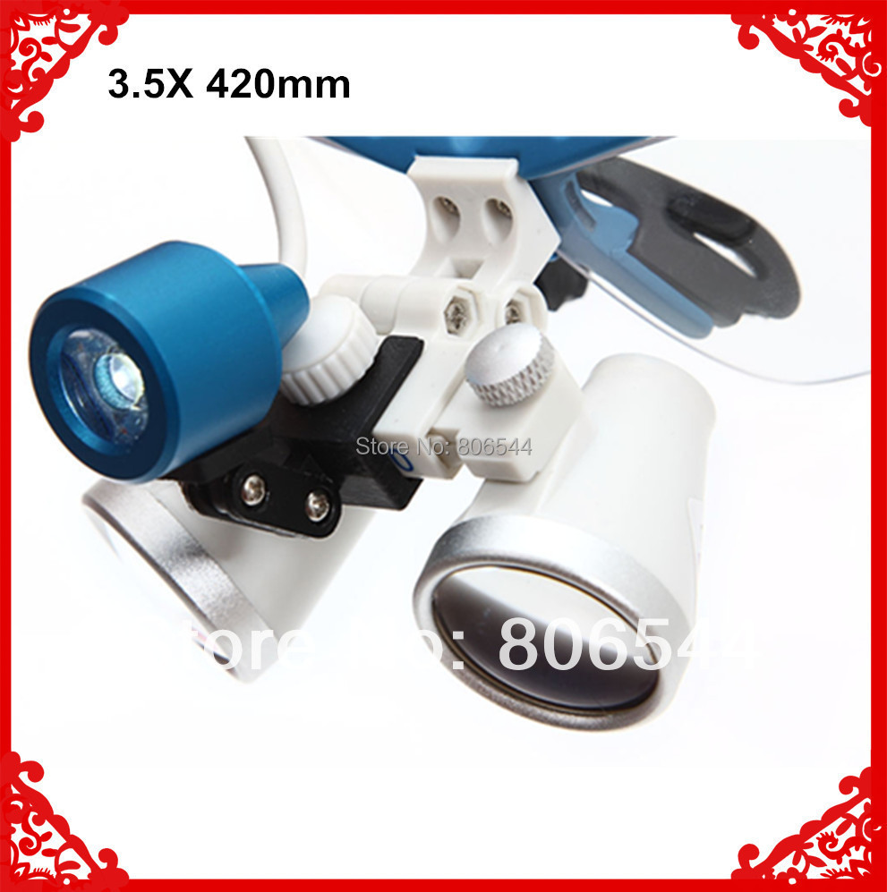 New Dentist Dental Surgical Medical Binocular Loupes 3.5X 320mm + LED Head Light Lamp Blue dental led head light lamp s r 2 5x420mm medical binocular surgical loupes hot new 2017