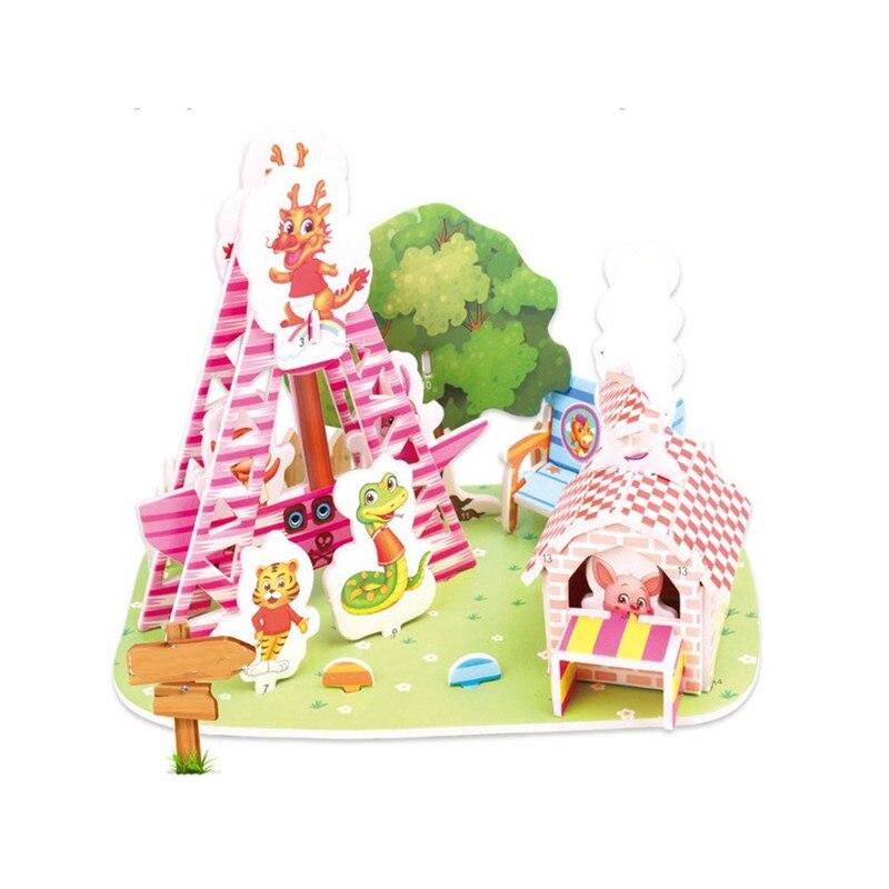 Бумага паззлами раннего обучения Строительная сборка детей украшения дома английские детские игры раннее образование игрушки - Цвет: YJL80928766B