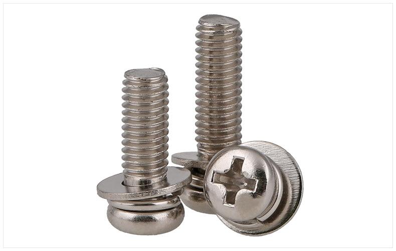 GB9074.8 304 stainless steel round head Three combination screw M2 M2.5 M3 M4 M5 M6 M8 M10 screws bolt цена