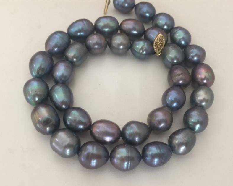 stunning 12-13mm tahitian baroque black blue red pearl necklace 18inch 925silverstunning 12-13mm tahitian baroque black blue red pearl necklace 18inch 925silver